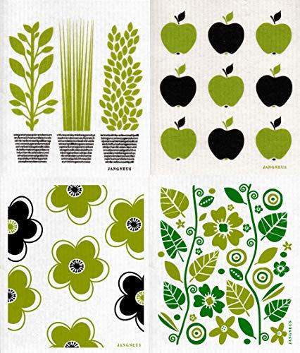 Trendy Tripper JANGNEUS Swedish Dishcloths, Set of 4 Different Designs in Green - Teepee + Retro Circles + Pears + Wine (4 Green (BG))