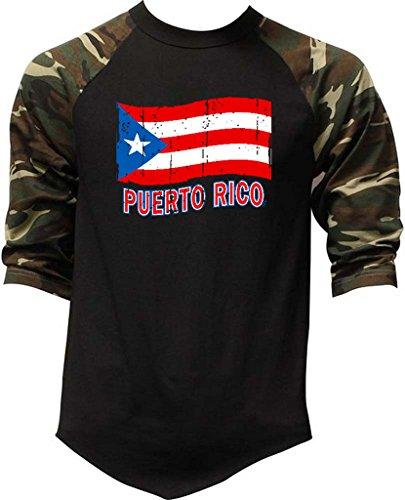 (Men's Grunge Puerto Rico Flag Tee Black/Camo Raglan Baseball T-Shirt 3X-Large Black/Camo)