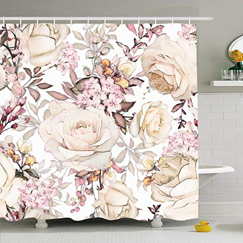 Ahawoso Shower Curtain 72x72 Inches Tile Gray Artistic Yellow Pink Flowers Leaves Pattern Leaf Nature Watercolor Floral Spring Abstract Waterproof Polyester Fabric Set with Hooks