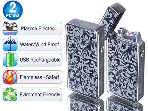(Tac Plasma Lighter Dual Arc Tactical Beam Torch USB Rechargeable, Lithium Ion Battery, Electric Windproof Splashproof Flameless, Butane Free - New Technology - Metal - Seen on TV (2pc, Silver Flower))