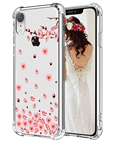 Hepix Floral iPhone XR Case Cherry Flowers Xr Phone Cases, Clear Flexible Soft TPU Protective Xr Phone Cover with 4 Reinforced Bumpers, Slim Anti-Scratch for iPhone XR (2018) 6.1