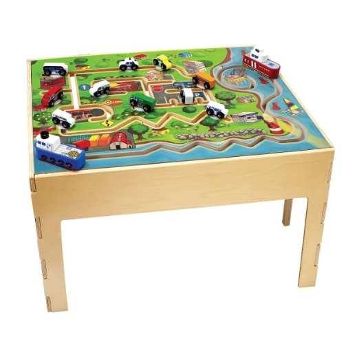 Anatex Kids Daycare City Transportation Activity Educational Fun Learning Wooden Play Table , Kid ,Toy , Hobbie , Nice Gift -