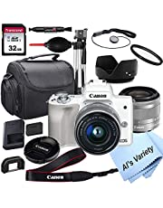 $679 » Canon EOS M50 (White) Mirrorless Digital Camera with 15-45mm Lens + 32GB Card, Tripod, Case, ALS Variety 18pc Bundle