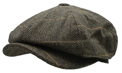 Men's Wool Blend Applejack Houndstooth Plaid IVY newsboy Hat (Brown-Green)