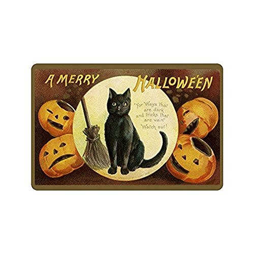 BMALL Custom Doormats Door Mat A Merry Halloween Decorative Indoor/Outdoor/Entry Way Bathroom Mats Rubber Non-woven Fabric Non Slip -