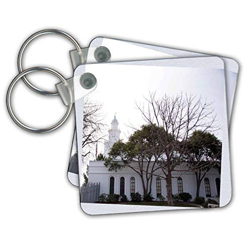 Jos Fauxtographee- Arbitrary White Temple - An arbitrary white frame of the Temple in St. George Utah - Key Chains - set of 2 Key Chains (kc_308217_1)