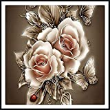 80x80cm(31''x31''), 5D Full Drill Diamond Painting Square Rhinestone Rose Flowers Butterfly DIY Embroidery Arts Craft Adults' Children's Paint Kits Cross Stitch for Home Decoration,Golden Rose