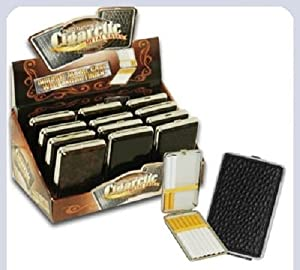 12 X Leather Metal Tobacco Cigarette Case 100's ,Double Sided, card & M holder