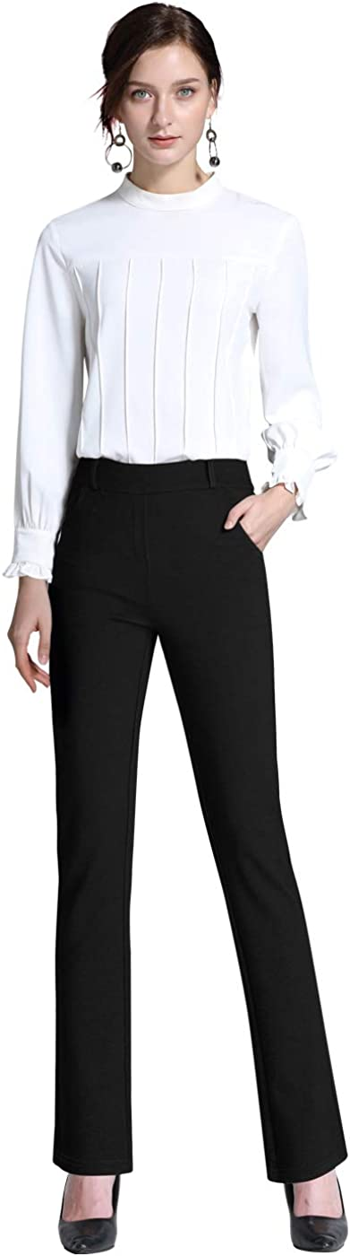 ABCWOO Women's Office Casual Pants High Waisted Straight Trousers Stretch Slimming Yoga Slacks Black US 2