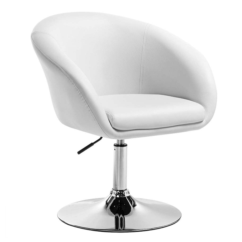White European Bar Chair Lift Swivel Chair Beauty Barber Leather Chair Faux Leather Kitchen Stool Seat Adjust 44-57cm (color   White)