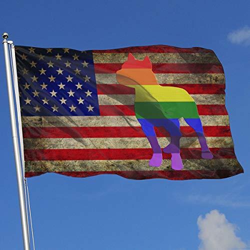 - JQDAPaflag Patriotic Pitbull LGBT Flag Flag 3 X 5-100% Polyester Single Layer Translucent Flags 90 X 150CM - Banner 3' X 5' Ft