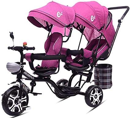 SYXL Dobles de Dos plazas Triciclo Carro Cochecito de niños Gemelos reclinables Asiento Giratorio 1-7 años de Edad bebé Carro,Pink