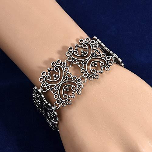 (FOKLC Bracelet Retro Women Anti-Silver Anti-Gold Wide Pierced Bracelet Bangle for Women Fashion Jewelry)
