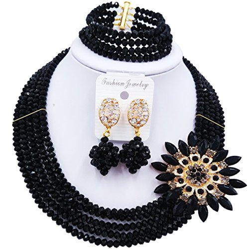Black And White Costume Jewellery (laanc Fashion Lady Jewellery 5 Rows MultiColor Crystal Nigerian Bridel Wedding African Bead Jewelry Sets (Black))