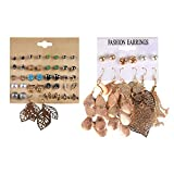 Kisslife 2 Plate Pearl Earrings Set Hollow Leaf Woven Earrings,Stainless Steel Assorted Multiple Stud Earring 26 Style Sets,Hypoallergenic for Girl Woman