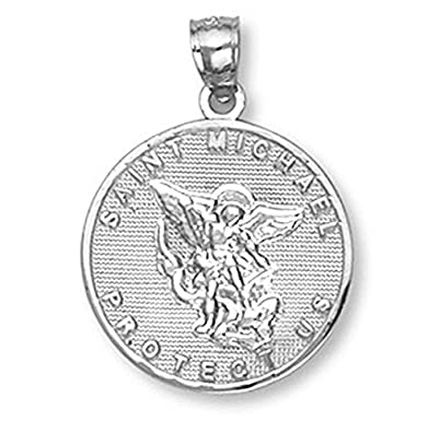 Amazon 14k white gold saint michael the archangel medal charm 14k white gold saint michael the archangel medal charm pendant mozeypictures Image collections
