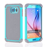 Image of OHOH Premium Soft Silicon Plastic Dual Layer Armor Full-Body Super Protection Case for Galaxy S6(Hot Blue)