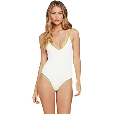 56e7eb9a219 LSpace Women's Ridin' High Ribbed Dakota One-Piece Cream/Bronze/Reef 4