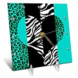 3dRose dc_35445_1 Aqua Blue Black and White Animal Print Leopard and Zebra Heart Desk Clock, 6 by 6-Inch