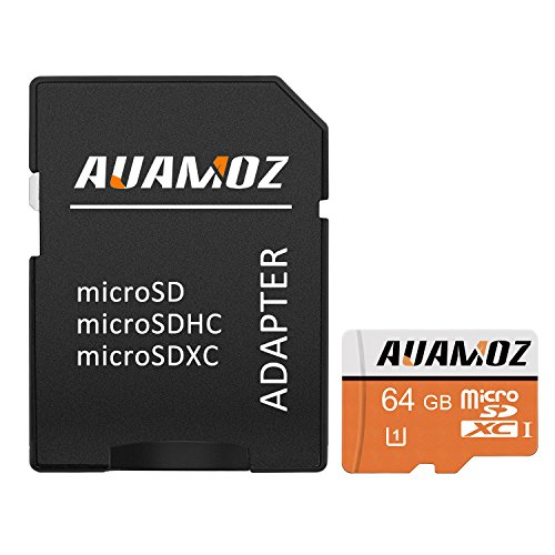 Micro SD Card 64GB, AUAMOZ Micro SDXC Class 10 UHS-I High Speed Memory Card for Phone,Tablet and PCs - with Adapter by AUAMOZ