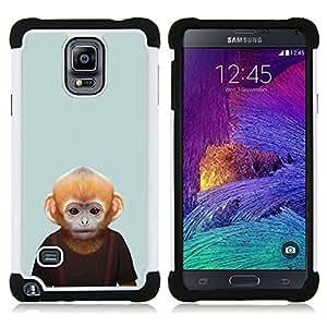 /Skull Market/ - Monkey Cartoon Face For Samsung Galaxy Note 4 SM-N910 N910 - 3in1 h????brido prueba de choques de impacto resistente goma Combo pesada cubierta de la caja protec -