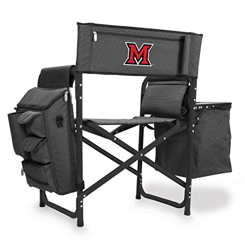 NCAA Miami University Digital Print Fusion Chair, Dark Grey/Black, One Size by PICNIC TIME