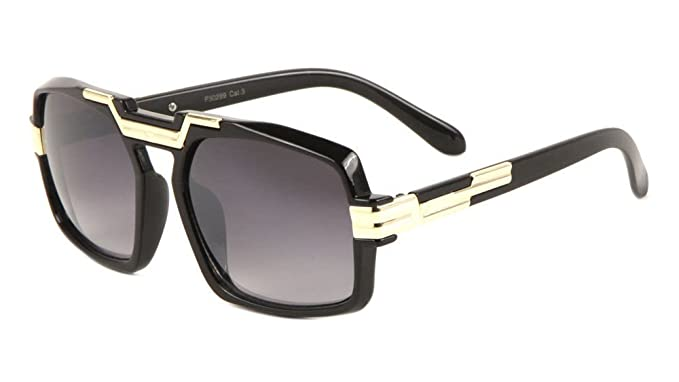 381f7e8a40 Amazon.com  Gazelle Legend Black   Gold Square Retro Aviator Sunglasses ( Black   Gold Frame