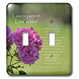 3dRose lsp_110502_2 Pretty Pink Roses Love is Patient Bible Verse Inspirational Double Toggle Switch