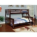 Furniture of America Spring Twin over Queen Bunk Bed – Dark Walnut