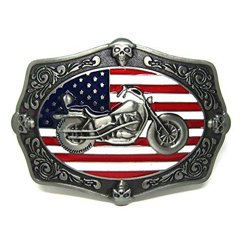 American Flag Cool Motorcycle Skeleton Belt Buckle Biker Skull Western Cowboy
