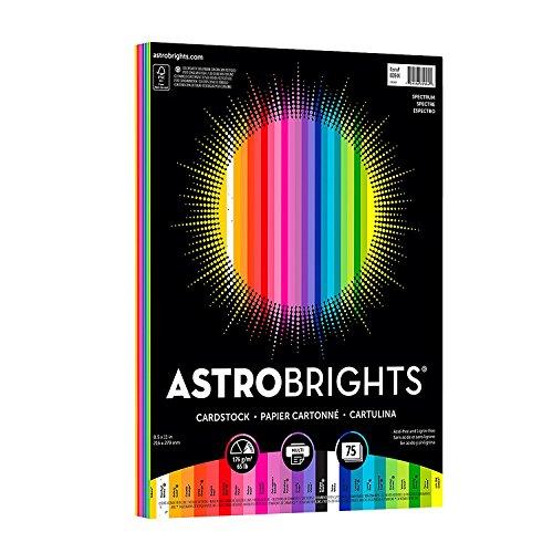 "Astrobrights. Colored Cardstock, 8.5"" x 11"", 65 lb/176 gsm,Spectrum 25-Color Assortment, 75 Sheets (80944-01)"
