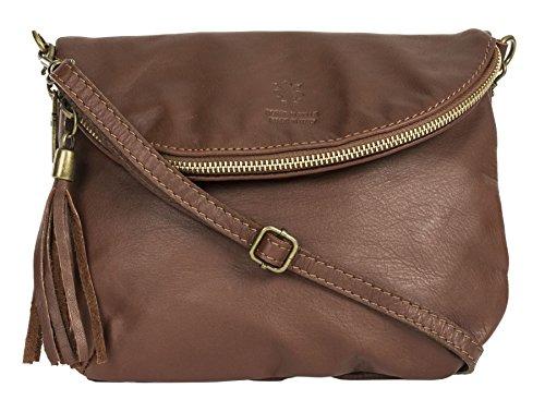 Big Handbag Shop Amy Real Italian Leather Messenger Cross Body Shoulder Bag [Dark Tan]
