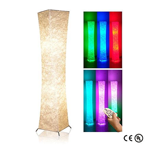 Soft Light Floor Lamp, 52'' LEONC Twist RGB Color Changing Tyvek Fabric Shade Dimmable Remote Control and 2 Smart LED Bulbs for Livingroom by LEONC Design