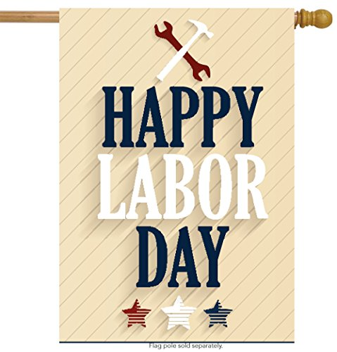 ShineSnow Happy Labor Day Stars House Flag 28″ x 40″ Double Sided, Polyester Welcome Yard Garden Flag Banners for Patio Lawn Home Outdoor Decor For Sale