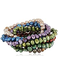 Dyed Multicolored Freshwater Cultured Pearl Seven-Piece Stretch Bracelet Set