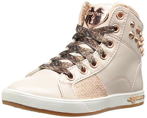 Skechers Girls' Shoutouts Zipsters High Top,Gold,US 11 M