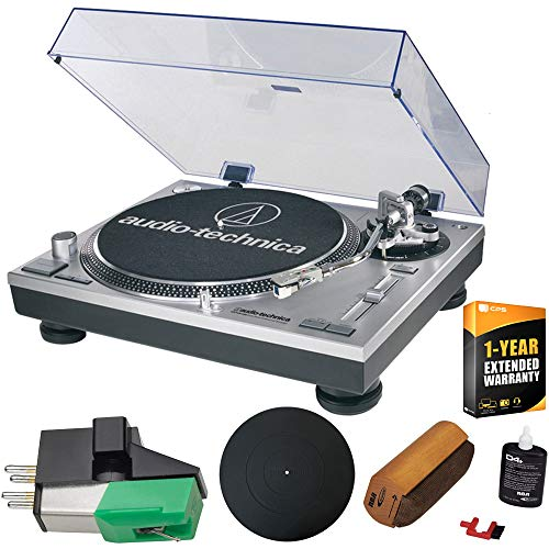 Audio-Technica AT-LP120-USB Direct-Drive Professional Turntable in (Silver) Ultimate Bundle with Extra Dual Magnet Cartridge, Protective Platter Mat, RCA Cleaning System & 1 Year Warranty Extension (Best Cartridge For Audio Technica At Lp120)
