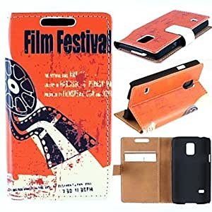 GJY Film Festival Pattern High-Grade PU Leather Full Body Case with Card Slot for Samsung Galaxy S5 Mini G800