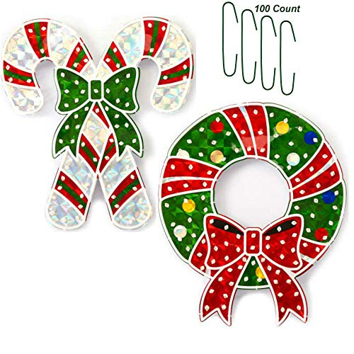 (Christmas Holographic Wreath Decoration Bundle - Candy Cane and Wreath Light Up 20