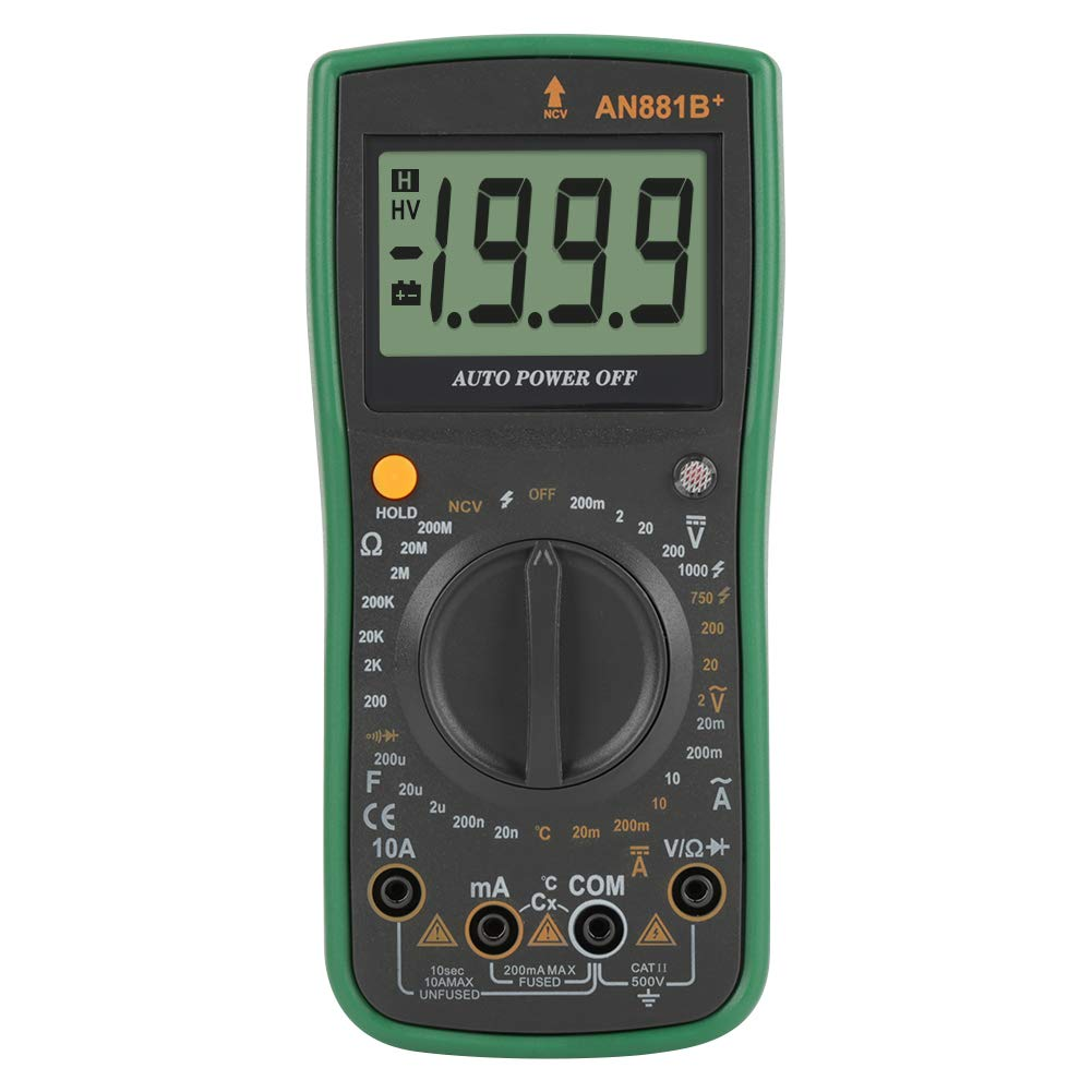 Akozon Digital Multimeter ANENG AN881B+ Voltage Current Resistance Meter Temperature Tester AC/DC Voltage Meter-Non Contact Voltage Detection Function NVC-Resistance-Continuity-Capacitance-Transisto