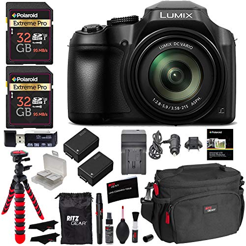 - Panasonic Lumix DC-FZ80 Digital Camera, 32GB SDHC Memory Card, 2 Spare Batteries, DSLR Camera Bag, Ritz Gear Cleaning Kit, Tripod and Accessory Bundle