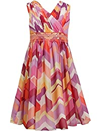 Big Girls Tween 7-16 Coral Multi Geometric Chevron Stripe Chiffon Dress