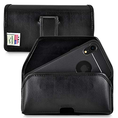 Turtleback Holster Designed for iPhone XR (2018) Belt Case Black Leather Pouch with Executive Belt Clip, Horizontal Made in USA