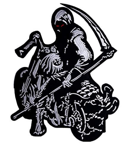Grim Reaper Big Back Kingsize Patch Iron on Sew on Bringer of Death 10.24 Inch / 10.24 Inch