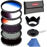 Beschoi 67mm 6pcs High-Precision Slim Neutral Density Filter Lens Filter Kit ( UV + FLD + ND4 ) + Graduated Color Filter for Nikon Canon DSLR Cameras with Lens Hood + Lens Cap + Filter Pouch