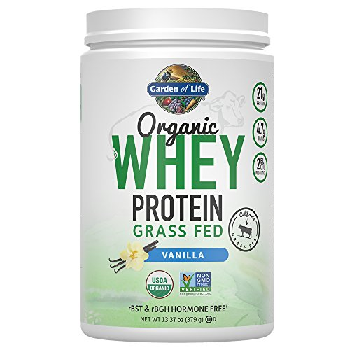 Garden of Life Protein Powder - Organic Whey Protein Powder, Grass Fed, Vanilla, 13.37 oz (379g) Powder