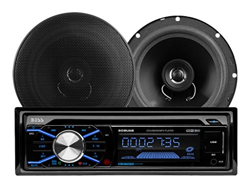 BOSS AUDIO 656BCK Package Includes 508UAB Single-DIN AM/FM CD Receiver With Bluetooth, USB and SD Memory Card Ports Plus One Pair of 6.5 inch Speakers