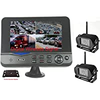 4Ucam TWO Digital Wireless Camera + 7 Monitor Quad-view + Adapter for Furrion FRCBRKT-BL Pre-install Mounting Kit (FOS48T-BL/FOC12TA-BL) for RV, Trailer, 5th Wheels
