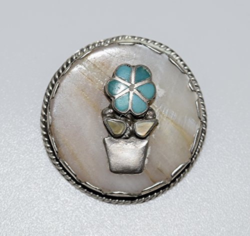 Beautiful Vintage Inlay Flower Pendant with Genuine Shell and Turquoise ()