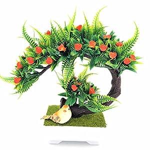 Christmas Tree Artificial decrative Bonsai Artificial Flowers Rose Dragon Fake Green Pot Plants Ornaments Home Party Decor 59